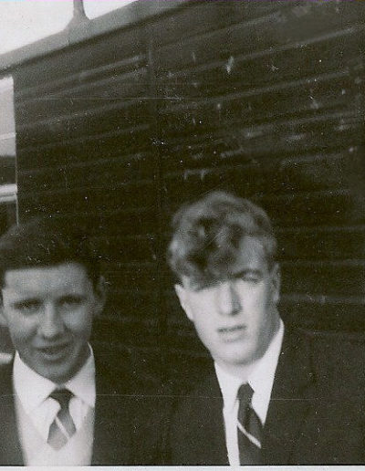 Tom & Des outside wooden hut Hereford 1963
